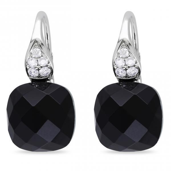 Cushion Cut Black Onyx & Diamond Drop Earrings 14k White Gold (8.20ct)