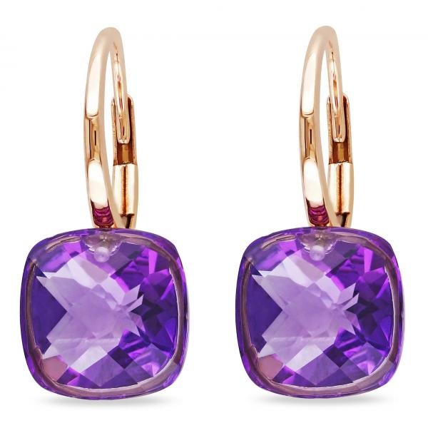 Cushion Cut Purple Amethyst Drop Earrings in 14k Rose Gold (7.00ct)