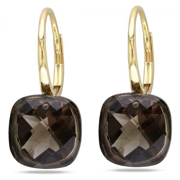 Cushion Cut Smoky Quartz Drop Earrings in 14k Yellow Gold (8.50ct)