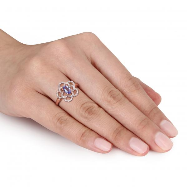 Oval Tanzanite & Diamond Flower Fashion Ring in 14k Rose Gold (0.60ct)