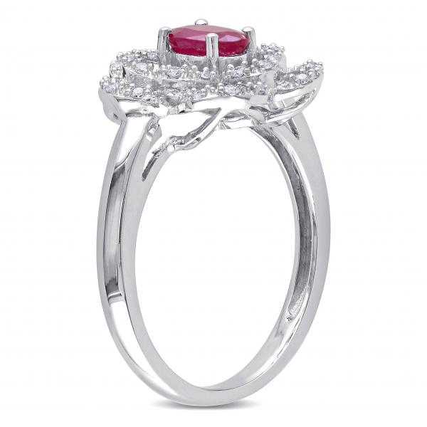 Oval Ruby & Diamond Flower Fashion Ring in 14k White Gold (0.70ct)
