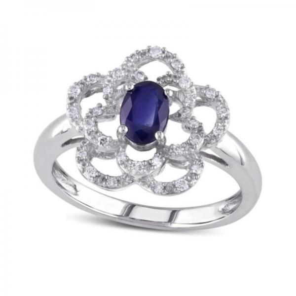 Blue Sapphire & Diamond Flower Fashion Ring in 14k White Gold (0.70ct)