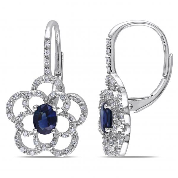 Oval Blue Sapphire & Diamond Flower Drop Earrings 14k W. Gold (1.00ct)