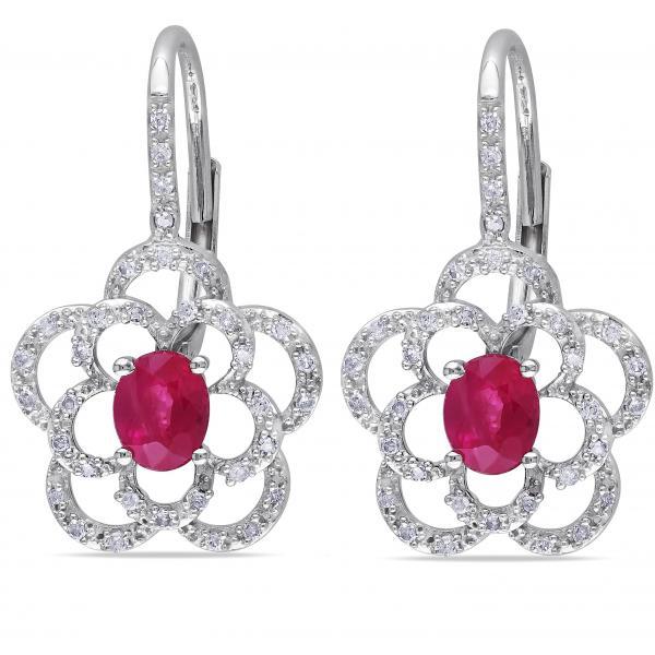 Oval Shaped Ruby & Diamond Flower Drop Earrings 14k White Gold 1.10ct