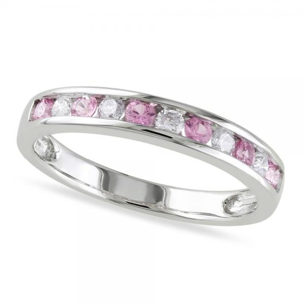 Channel Set Pink Sapphire & Diamond Wedding Band 14k White Gold 0.62ct