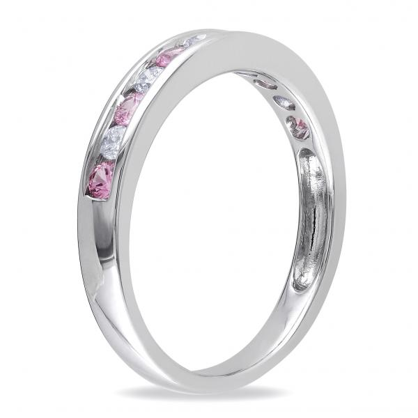 channel set pink sapphire amp diamond wedding band 14k white