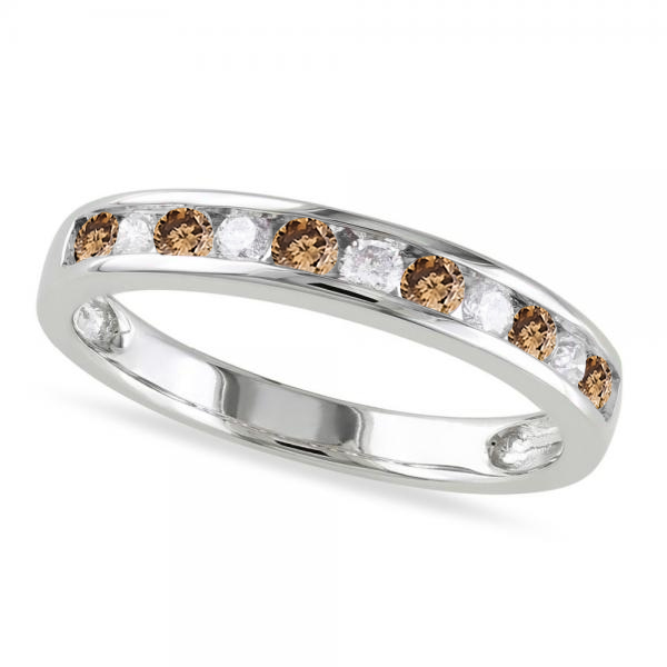 Channel Set Champagne & White Diamond Wedding Band 14k White Gold (0.44ct)