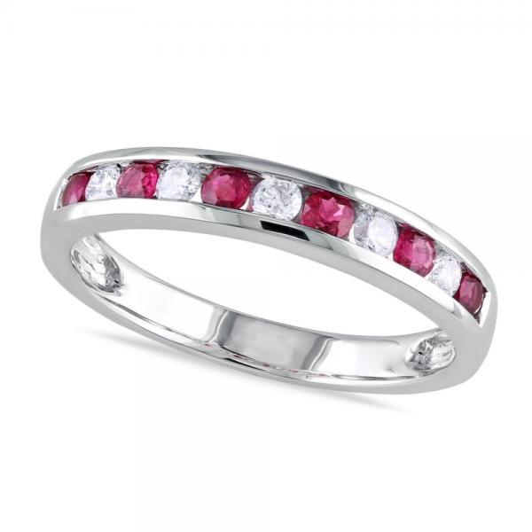 Channel Set Round Ruby & Diamond Wedding Band 14k White Gold (0.62ct)