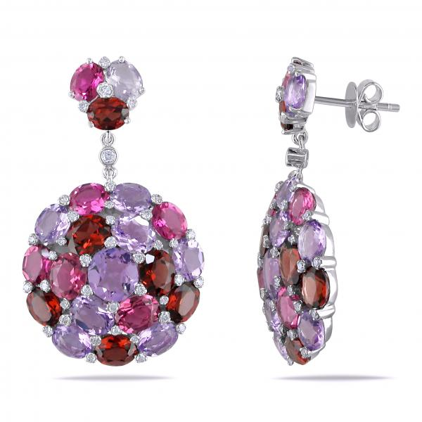 Multicolor Gemstone & Diamond Cluster Earrings 14k White Gold 16.75ct