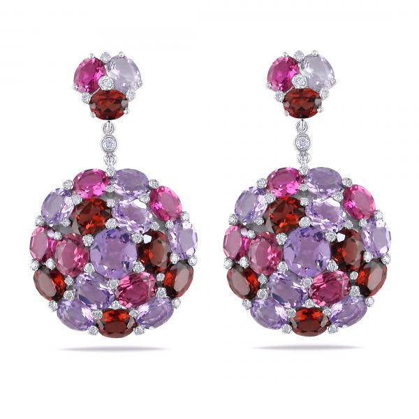 Multicolor Gemstone & Diamond Cluster Earrings 14k White Gold 16.75ct