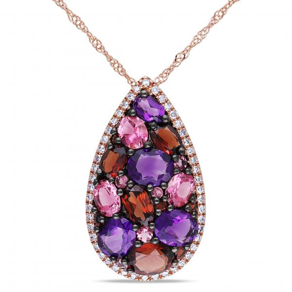 Multi gemstone and diamond pendant necklace 14k rose gold 260ct multi gemstone and diamond pendant necklace in 14k rose gold 260ct aloadofball Image collections