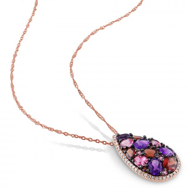 Multi-Gemstone and Diamond Pendant Necklace in 14k Rose Gold (2.60ct)