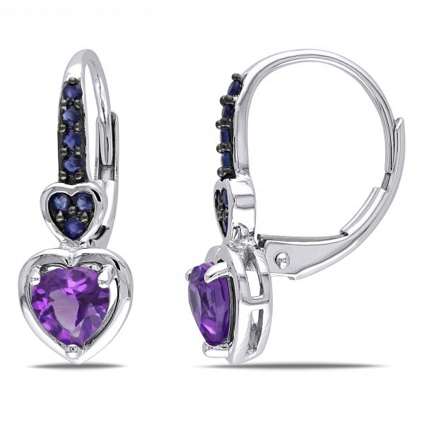 Amethyst & Sapphire Heart Drop Earrings 14k White Gold (0.80ct)