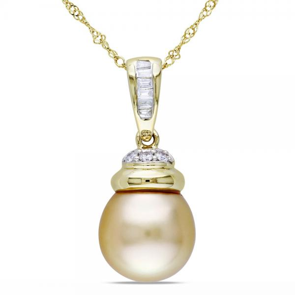 Golden South Sea Pearl & Diamond Pendant Necklace 14k Y. Gold 9.5-10mm