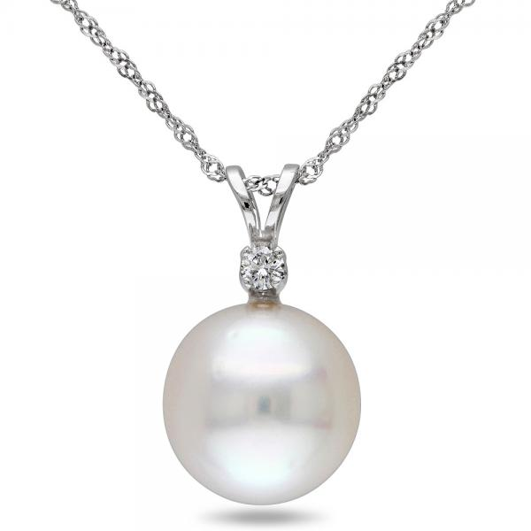Solitaire South Sea Pearl Pendant Necklace w/ diamond 14k W. Gold 10mm