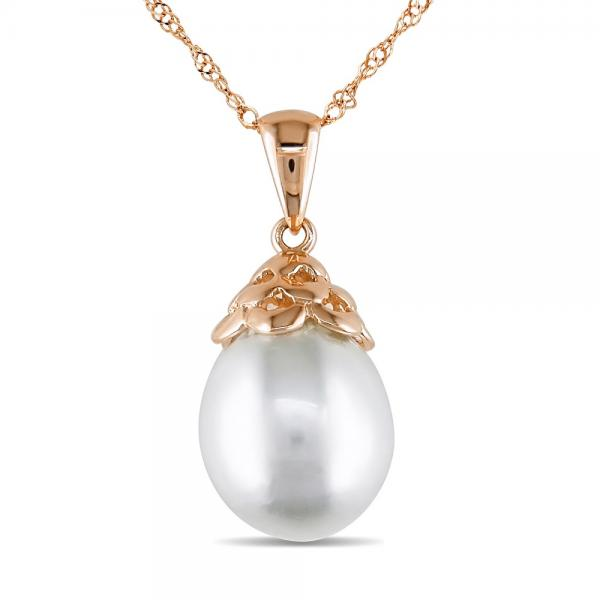 White South Sea Cultured Pearl Pendant Necklace 14k R. Gold 9-9.5mm