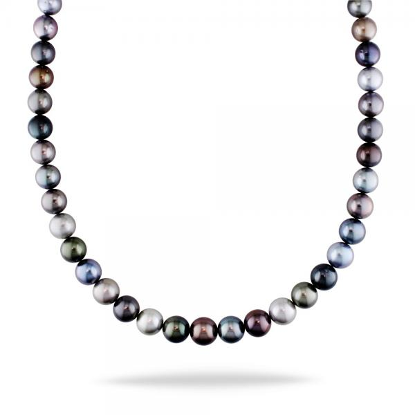 Multicolored Cultured Pearl Strand Necklace 14k Gold Clasp 9-11.5mm