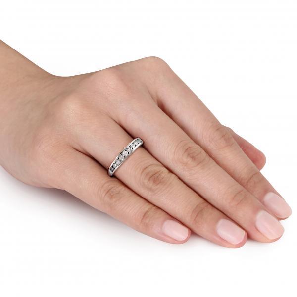 Semi Eternity Channel Set Diamond Wedding Band 14K White Gold (0.25ct)