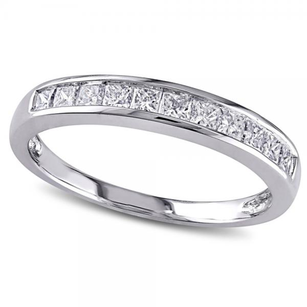 Semi Eternity Princess Cut Diamond Wedding Band 14K White Gold 0.50ct