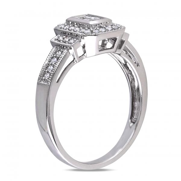 Princess Cut Diamond Halo Engagement Ring w/Accents 14k W. Gold 0.35ct