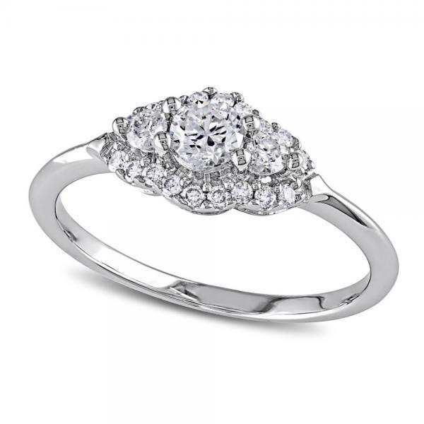 Round Diamond Three Stone Halo Engagement Ring 14k White Gold (0.50ct)