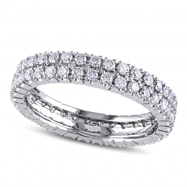 Double Row Eternity Diamond Wedding Band 14k White Gold 1 00ct