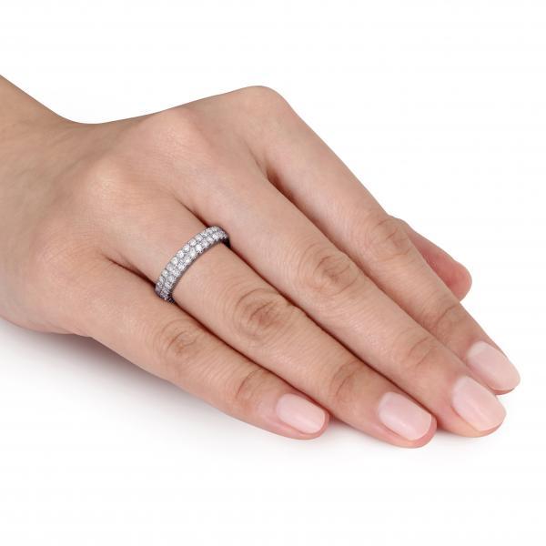 Double Row Eternity Diamond Wedding Band 14k White Gold 1 00ct