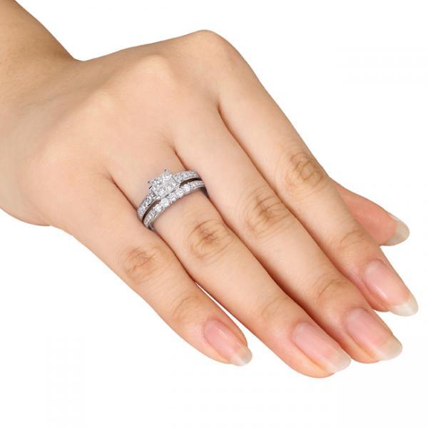Princess Cut Diamond Bridal Set w/ Side Stones 14k White Gold (1.00ct)