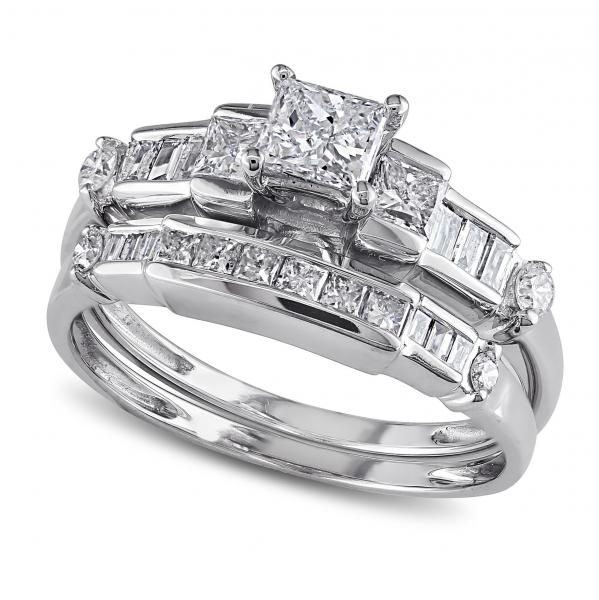 Round, Baguette & Princess Cut Diamond Bridal Set 14k W. Gold 1.00ct