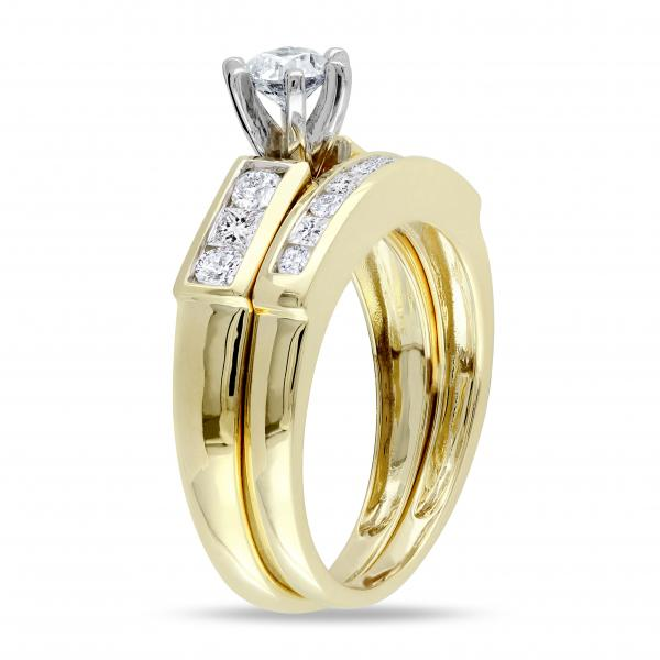 Bridal Set w/ Round & Princess Cut Diamonds 14k Yellow Gold (1.00ct)