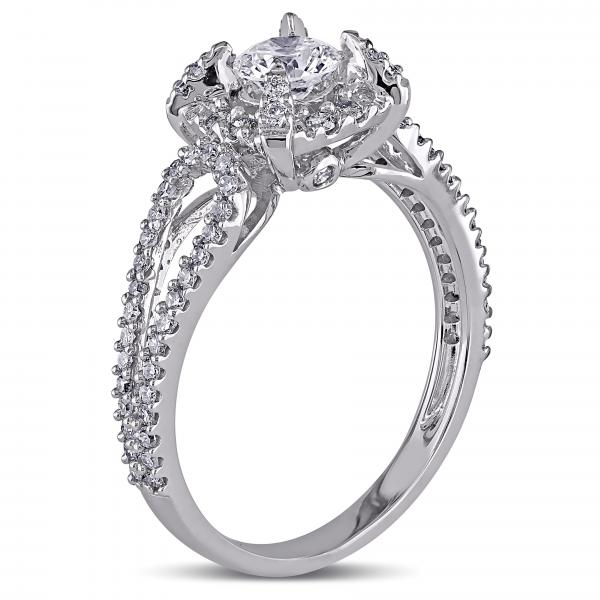 Halo Diamond Engagement Ring w/ Split Shank in 14k White Gold (1.00ct)