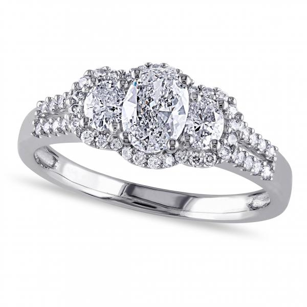 Oval Diamond 3 Stone Halo Engagement Ring w/Accents 14k W. Gold 1.00ct