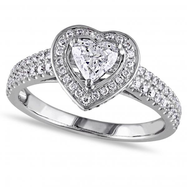 Heart Shaped Halo Diamond Engagement Ring in 14k White Gold (1.00ct)