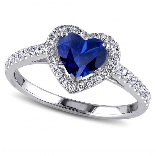 Heart Shaped Blue Sapphire & Diamond Halo Engagement Ring 14k White Gold 1.50ct