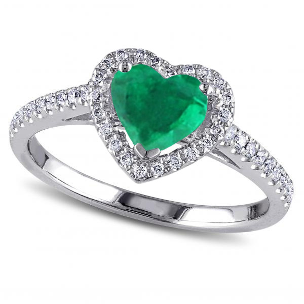 lab shaped heart and heartshaped v sterling silver diamond in double ring created labcreated p emerald accent