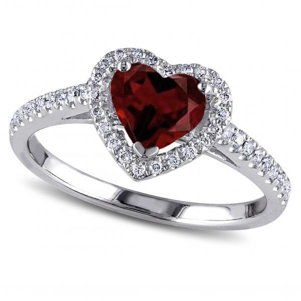 Details about  /Garnet Heart Solitaire Ring 925 Hallmark Rhodium Finish Size J R British Made