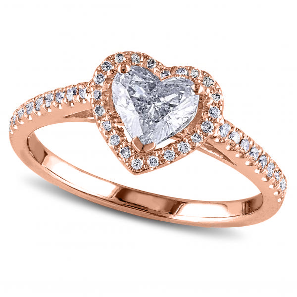 Heart Shaped Moissanite & Diamond Halo Engagement Ring in 14k Rose Gold (1.50ct)