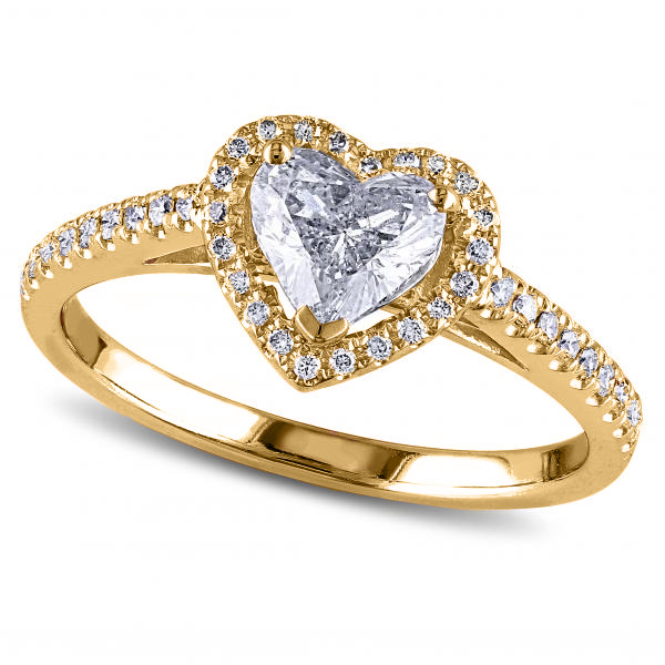 Heart Shaped Moissanite & Diamond Halo Engagement Ring in 14k Yellow Gold (1.50ct)