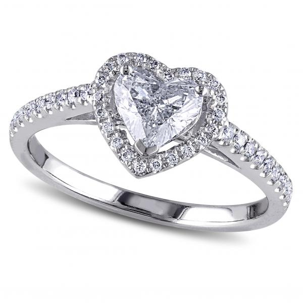 Heart Shaped Moissanite & Diamond Halo Engagement Ring in 14k White Gold (1.00ct)