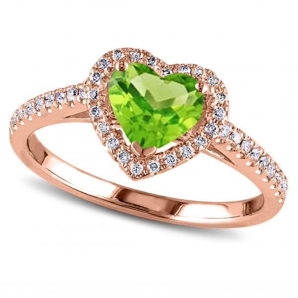 Heart Shaped Peridot & Diamond Halo Engagement Ring 14k
