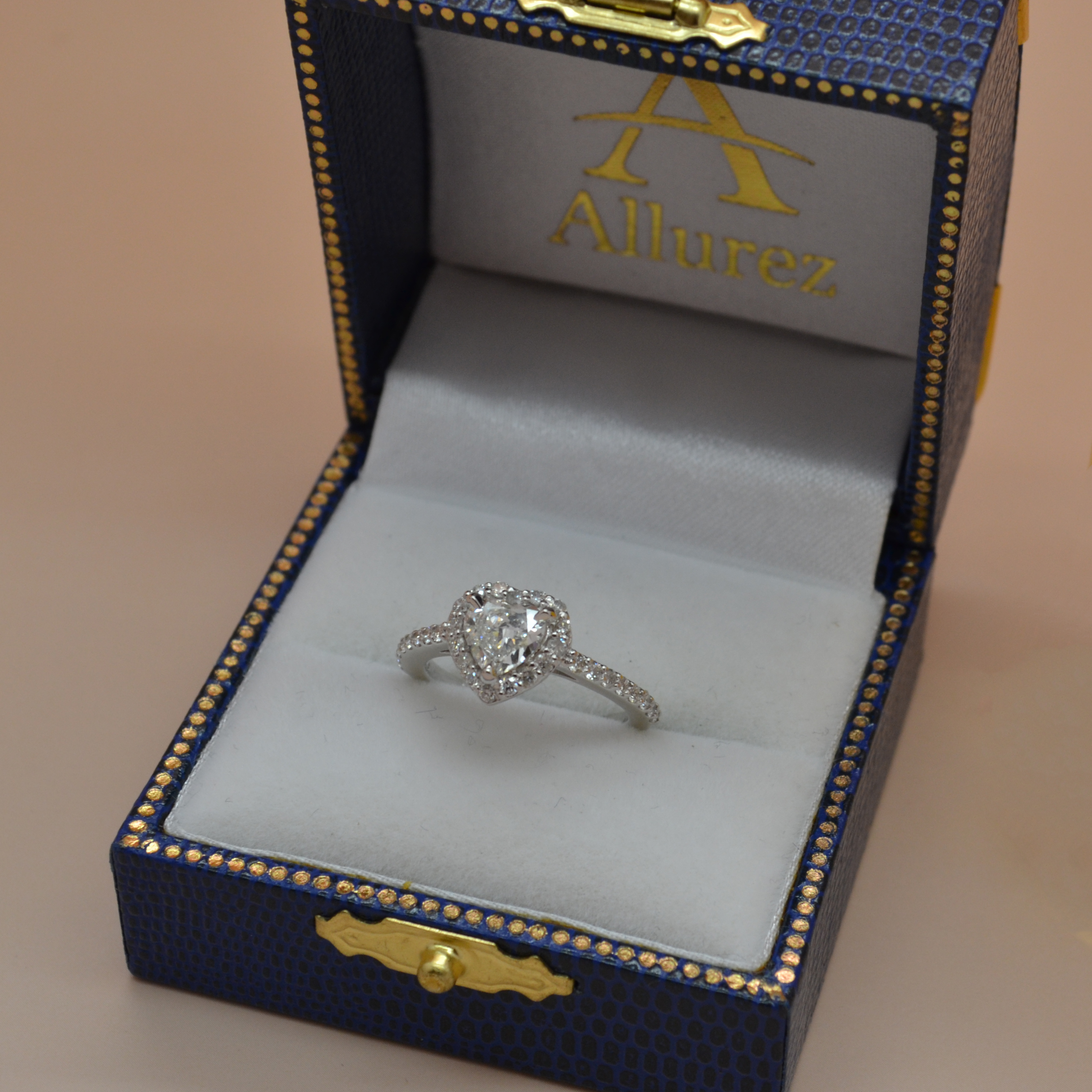 Heart Shaped Diamond Halo Engagement Ring in 14k White Gold (1.00ct)