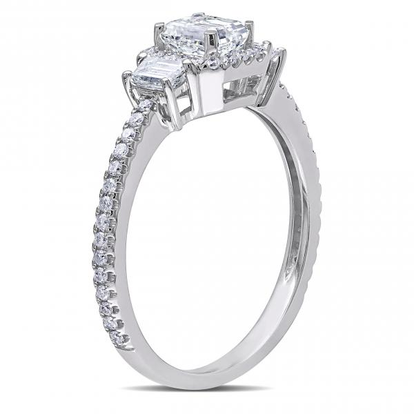 Emerald Cut Diamond Halo Engagement Ring in 14k White Gold (1.20ct)