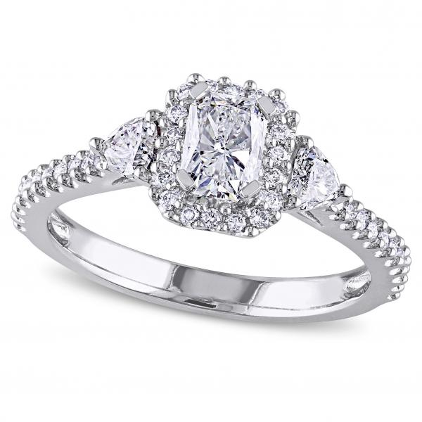 radiant cut halo diamond engagement ring 14k white gold 120ct