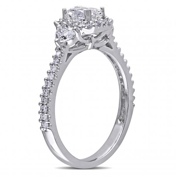 Radiant Cut Halo Diamond Engagement Ring in 14k White Gold 1.20ct