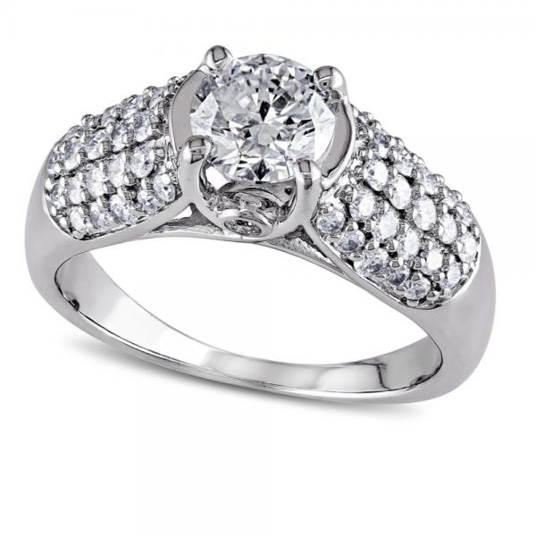 Round Diamond Engagement Ring w/ 5 Row Accents 14k White Gold (1.25ct)