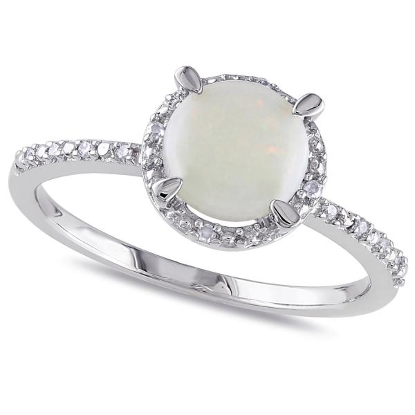 Opal & Halo Diamond Ring Side Stone Accents Sterling Silver (1.05ct)