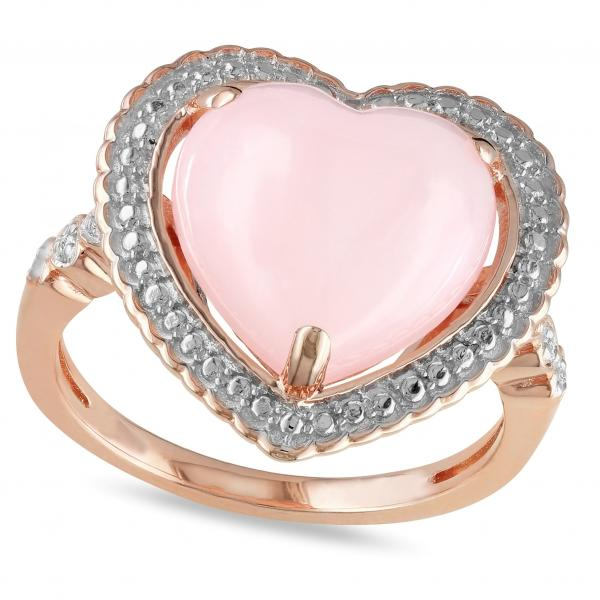 Pink Opal & Diamond Heart Shaped Ring in Sterling Silver (4.27ct)