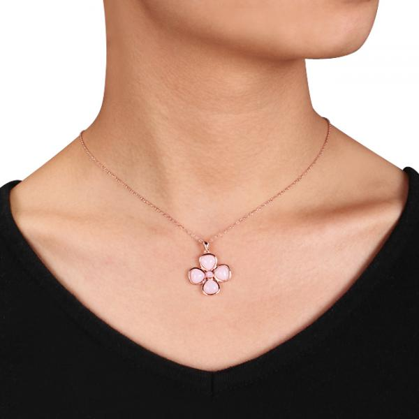 Pink Opal Flower Design Pendant Necklace .925 Sterling Silver (5.70ct)