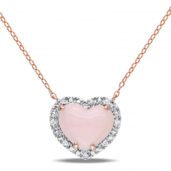 Pink Opal & Diamond Heart Pendant Necklace in Sterling Silver (3.46ct)