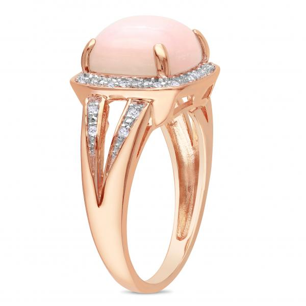 Pink Cushion Opal & Halo Diamond Fashion Ring Sterling Silver (5.10ct)